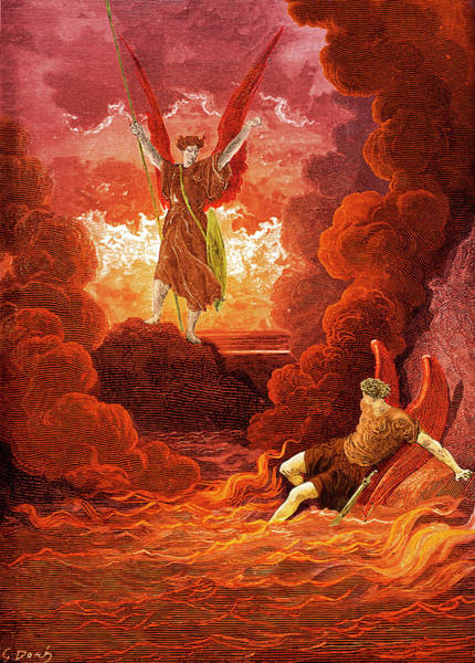 Flaming Sword Painting - Satan And Beelzebub From Paradise Lost by Gustave Dore