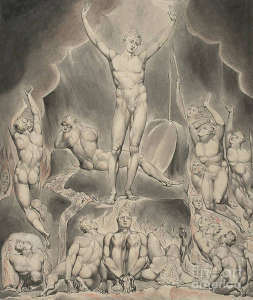 Summoning Wall Art - Painting - Satan Calling Up His Legions by William Blake