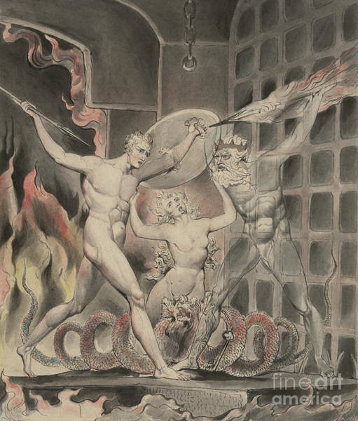 Poetry Painting - Satan Comes To The Gates Of Hell by William Blake