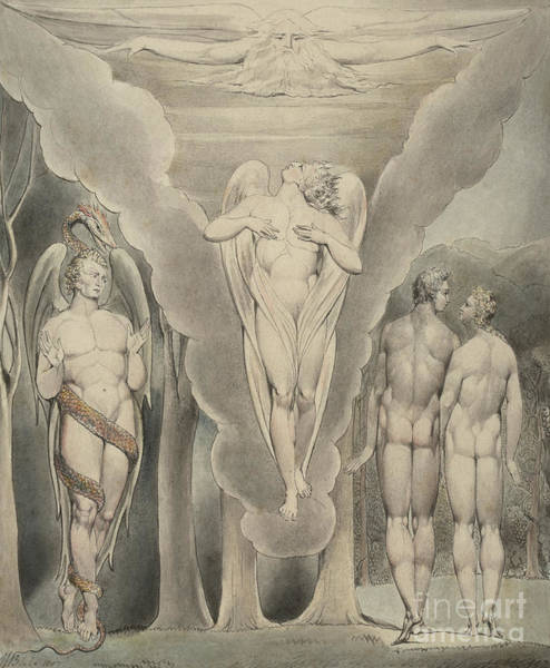 Wall Art - Painting - Satan Spying On Adam And Eve  by William Blake