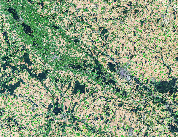 Satellite Image Wall Art - Photograph - Satellite View Of Countryside, France by Satellite Earth Art