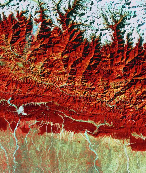 Wall Art - Photograph - Satellite View Of Himalayas, Khatmandu by Geospace