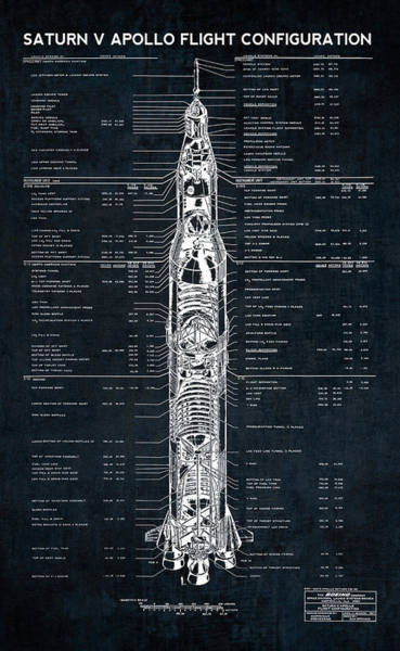 Wall Art - Photograph - Saturn V Apollo Moon Mission Rocket Blueprint  1967 by Daniel Hagerman