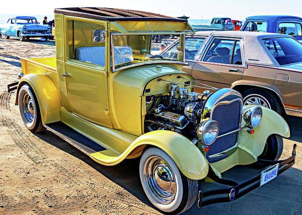 Sauble Beach Photograph - Sauble Sunset Cruisers - Yellow Ford Hotrod by Steve Harrington