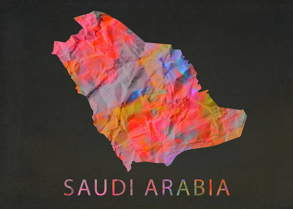 Wall Art - Mixed Media - Saudi Arabia Tie Dye Country Map by Design Turnpike