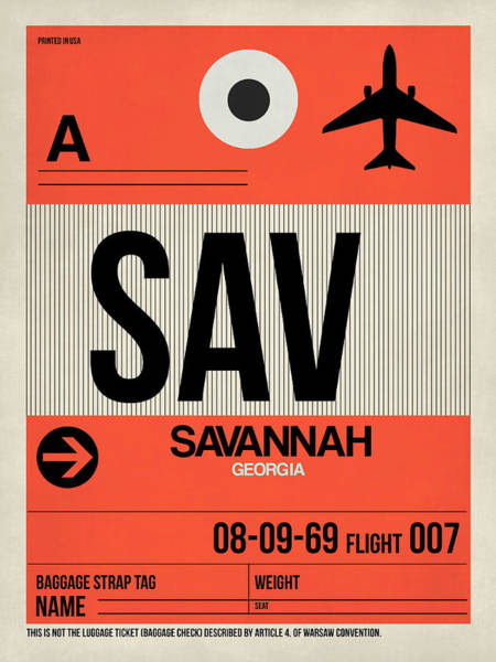 Wall Art - Digital Art - Sav Savannah Luggage Tag I by Naxart Studio