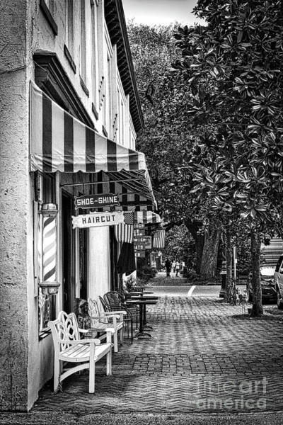 Wall Art - Photograph - Savannah Barber Shop Sidewalk Black And White by Carol Groenen