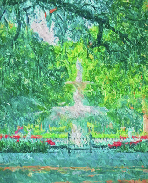Wall Art - Painting - Savannah Fountain In Forsyth by Dan Sproul