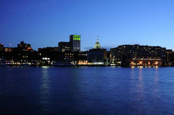 Savannah Photograph - Savannah Riverfront At Night by Landbysea