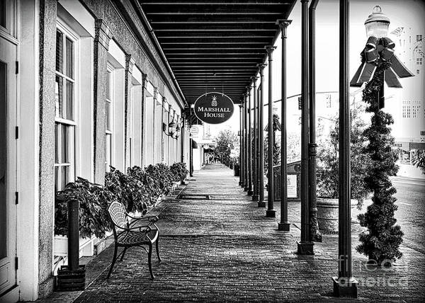 Photograph - Savannah Sidewalk Marshall House Black And White by Carol Groenen