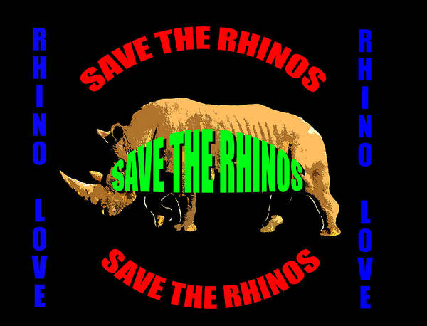 Cell Phone Cases Mixed Media - Save The Rhino Love  by David Lee Thompson