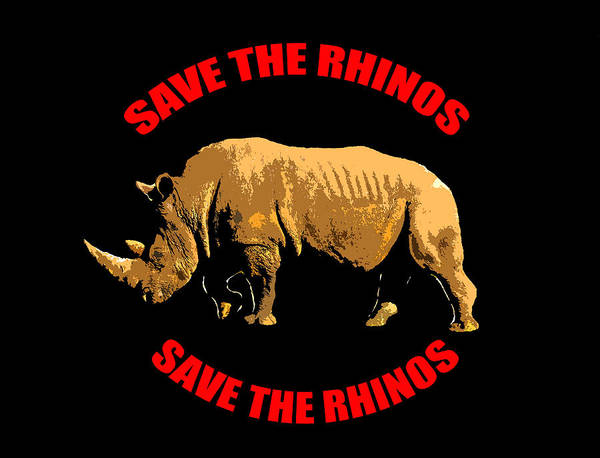Cell Phone Cases Mixed Media - Save The Rhinos Design A by David Lee Thompson