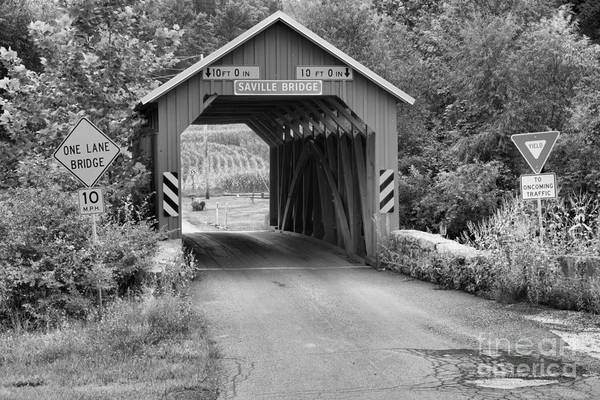Photograph - Saville Covered Bridge Black And White by Adam Jewell