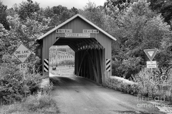 Photograph - Saville Covered Bridge Lush Landscape Black And White by Adam Jewell