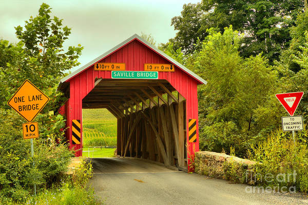 Photograph - Saville Township Covered Bridge by Adam Jewell
