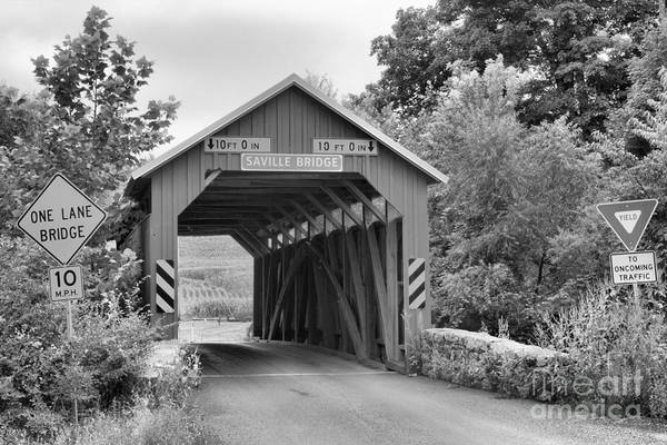 Photograph - Saville Township Covered Bridge Black And White by Adam Jewell