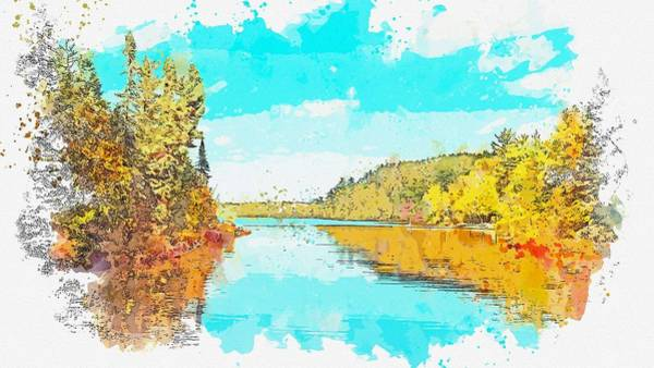 Wall Art - Painting - Sawbill Lake,tofte, United States Watercolor By Ahmet Asar by Celestial Images