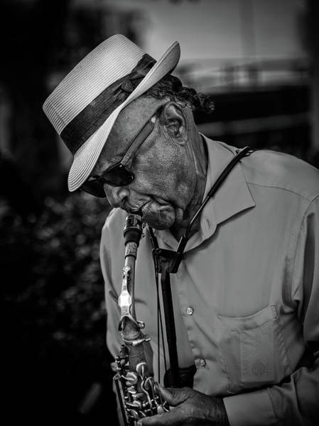 Wall Art - Photograph - Sax On The Street In Black And White by Greg and Chrystal Mimbs
