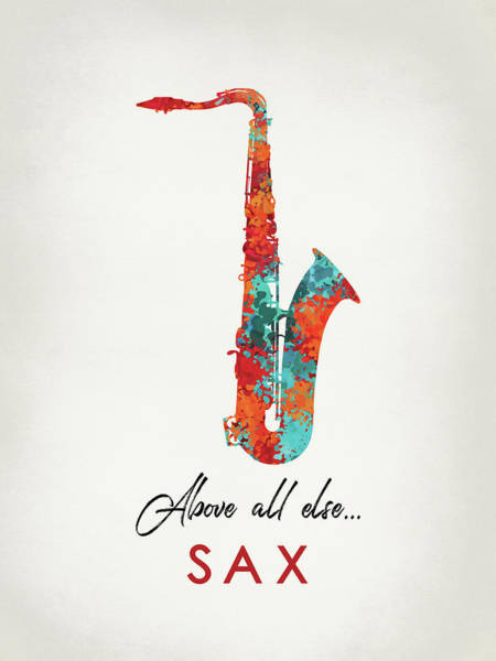 Wall Art - Digital Art - Saxophone - Bright Hot Colors Music by Flo Karp