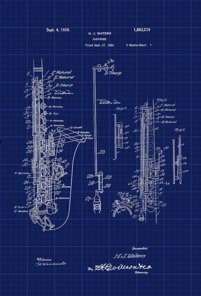 Digital Art - Saxophone Patent Cad Drawing by Carlos Diaz