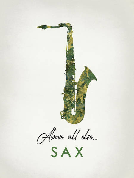 Wall Art - Digital Art - Saxophone - Green Marble by Flo Karp