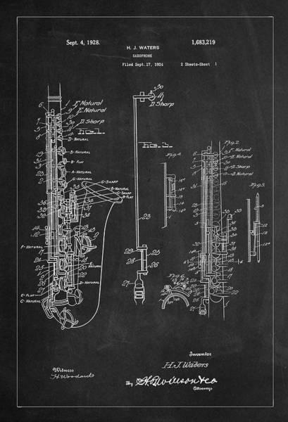 Digital Art - Saxophone Patent Drawing From 1928 by Carlos Diaz