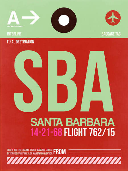 Wall Art - Photograph - Sba Santa Barbara Luggage Tag II by Naxart Studio