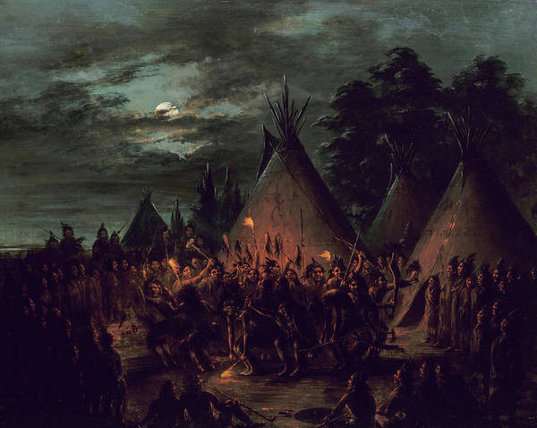 Wall Art - Painting - Scalp Dance, Sioux, 1845 by George Catlin