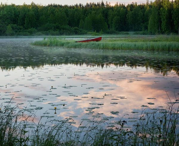 Rowboat Photograph - Scandinavia Finland Lake View by Ssiltane