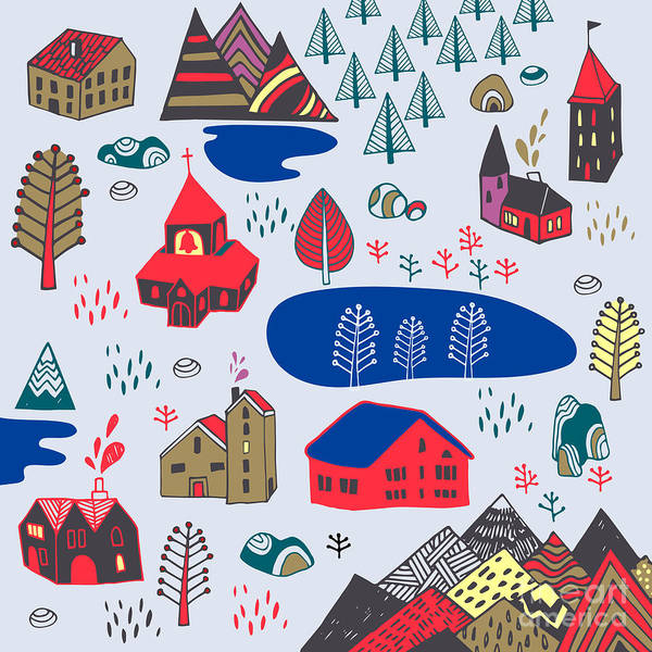 Wall Art - Digital Art - Scandinavian Style. Vector Illustration by Daria i
