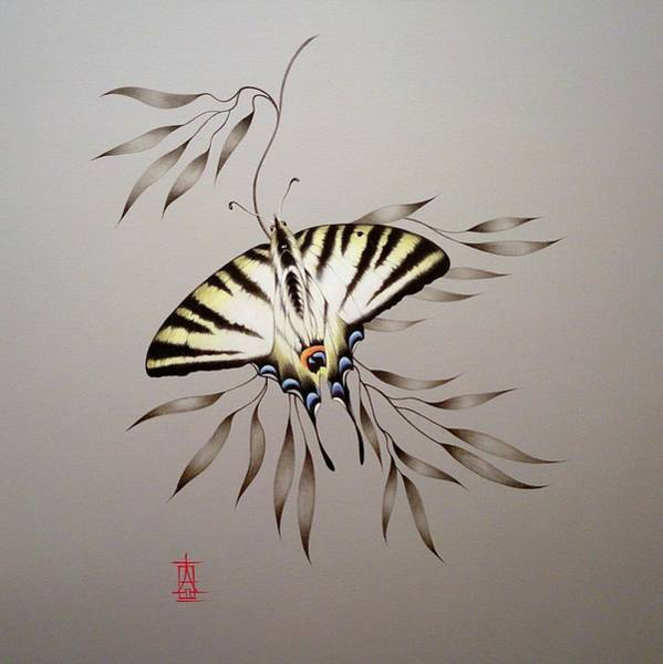 Painting - Scarce Swallowtail On Bamboo by Alina Oseeva