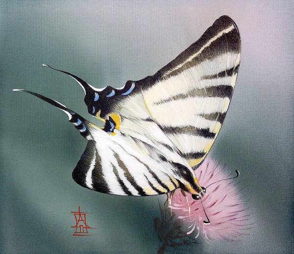 Painting - Scarce Swallowtail On Pink Meadow Flower by Alina Oseeva