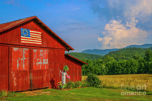 Photograph - Scare Crow And Barn by Tom Claud