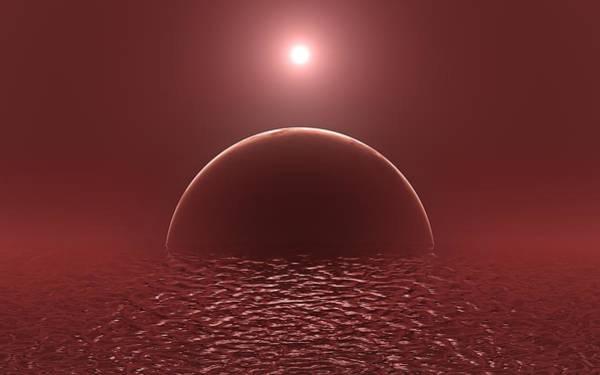 Mixed Media - Scarlet Ocean Moon by Art Shack