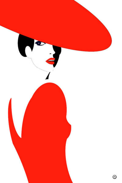 Wall Art - Digital Art - Lady In Red by Digital Painting