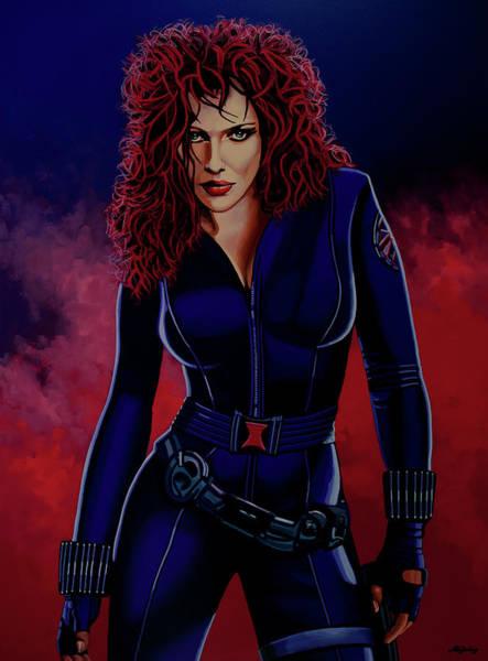 Painting - Scarlett Johansson As Black Widow by Paul Meijering