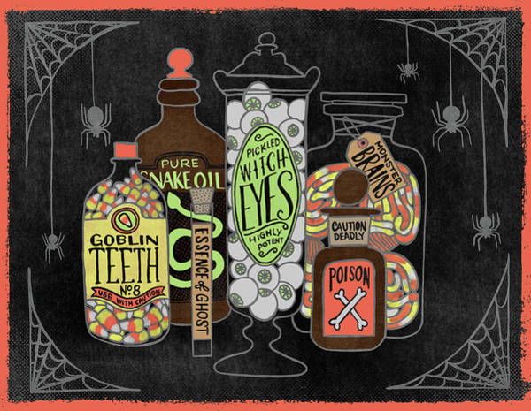 Painting - Scary Apothecary Jars Halloween Art by Jen Montgomery