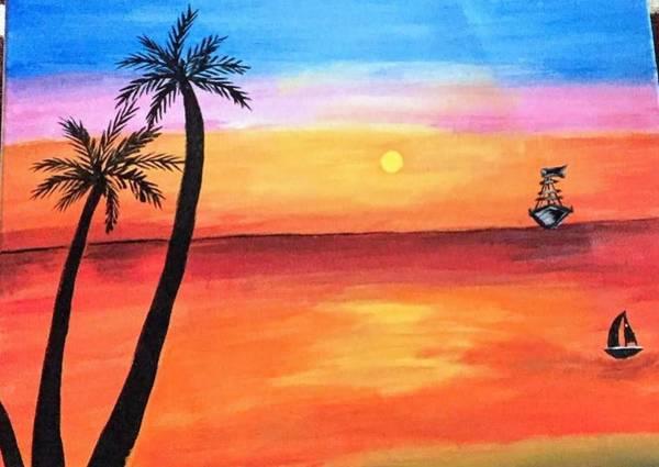 Sun Wall Art - Painting - Scenary by Aswini Moraikat Surendran