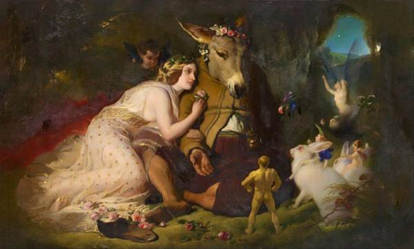 Wall Art - Painting - Scene From A Midsummer Night's Dream. Titania And Bottom - Digital Remastered Edition by Edwin Henry Landseer