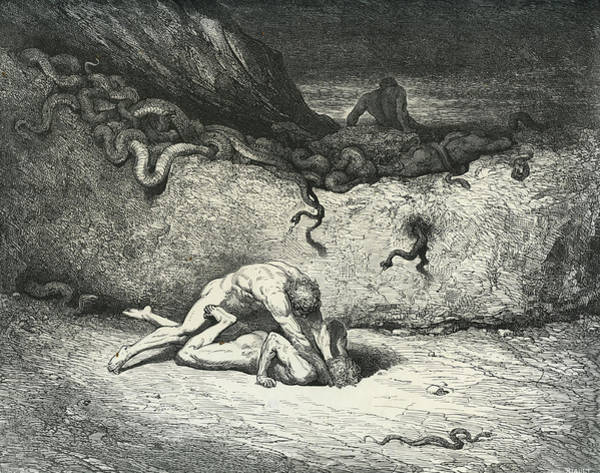 Strangling Painting - Scene From Dante Alighieri La Divina by Gustave Dore