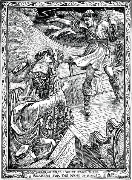 Wall Art - Drawing - Scene From The Tempest Act One Scene One by Walter Crane