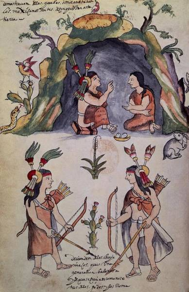 Spanish People Drawing - Scene Of American Indians-caves Of The Mexicans. by Album