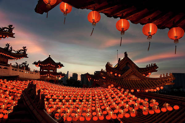 Chinese New Year Photograph - Scene Of Chinese Temple With Lanterns by Collinschin