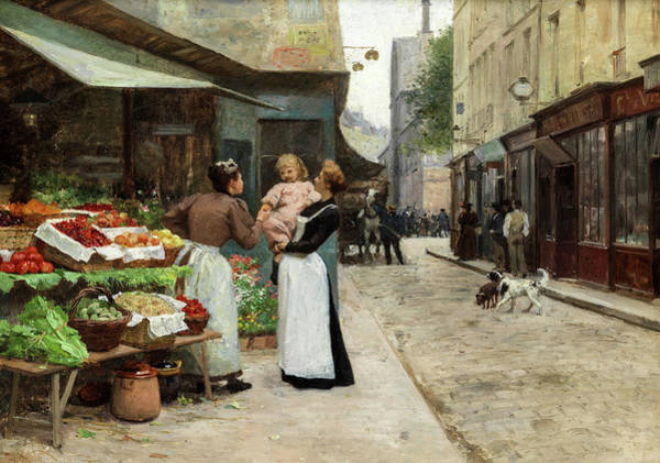 Wall Art - Painting - Scene On A French Market, Old Paris by Victor Gabriel Gilbert