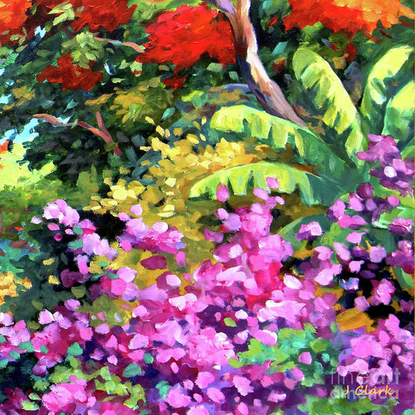 Wall Art - Painting - Scene With Bougainvillea Square by John Clark