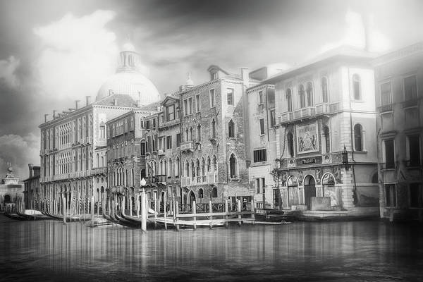 Venezia Photograph - Scenes Of The Grand Canal Venice Italy Black And White by Carol Japp