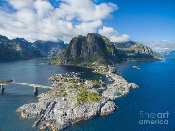 Fjord Photograph - Scenic Aerial View Of Fishing Village by Harvepino