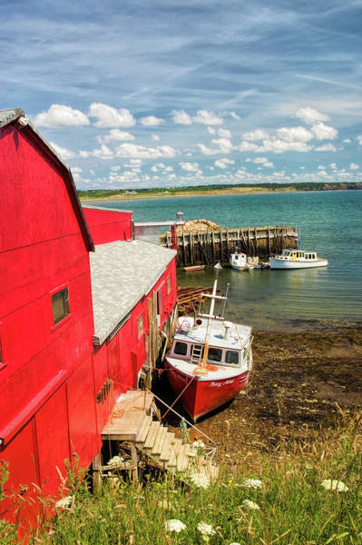 Wall Art - Photograph - Scenic Harbor With Red Barn And Boat by David Smith