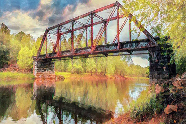 Photograph - Scenic Trestle In The Smoky Mountains Autumn Painting by Debra and Dave Vanderlaan