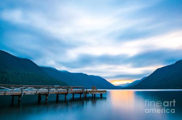 Scenic View Of  Dock In  Lake Crescent Art Print